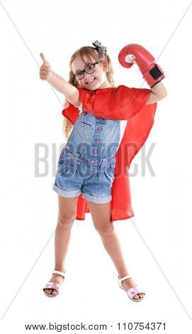 Fancy superhero girl with boxing gloves poses on white background