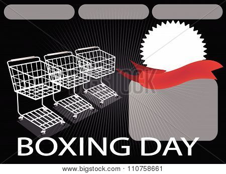 Three Shopping Carts And Banner On Boxing Day Background