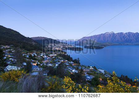 Sunset Over Queenstown On Lake Wakatipu, New Zealand