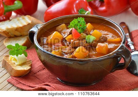 Hot goulash soup