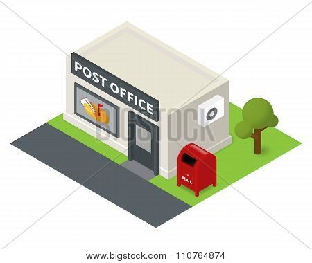 Vector isometric flat post office and mail box
