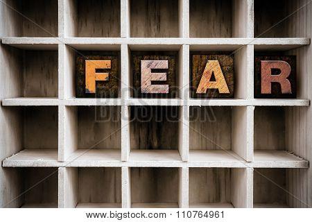 Fear Concept Wooden Letterpress Type In Draw