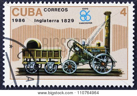 Train on a postage stamp