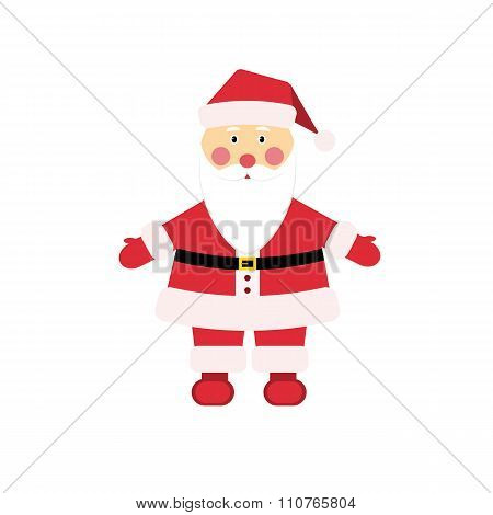 Dear Christmas character Santa Claus in traditional costume in flat style.