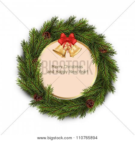 Christmas greeting card with xmas wreath on white background. Holiday decorations. Vector eps10 illustration