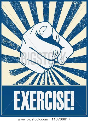 Exercise motivational poster vector background with hand and pointing finger. Health lifestyle promo