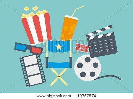 Movie Popcorn, Ticket, Clapperboard, Film