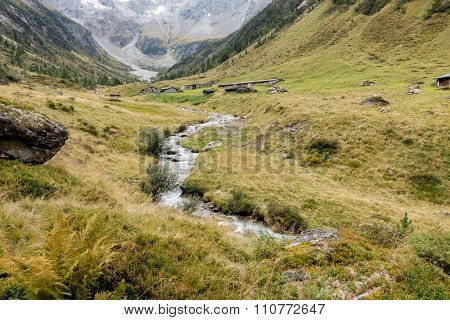 autumnal landscape in a mountain valley in Austria