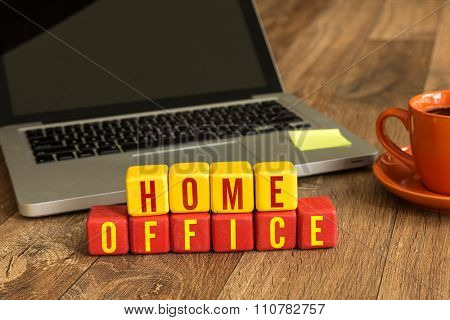 Home Office on a wood cube in a corporate background