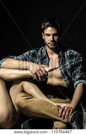 Man Holding Female Legs