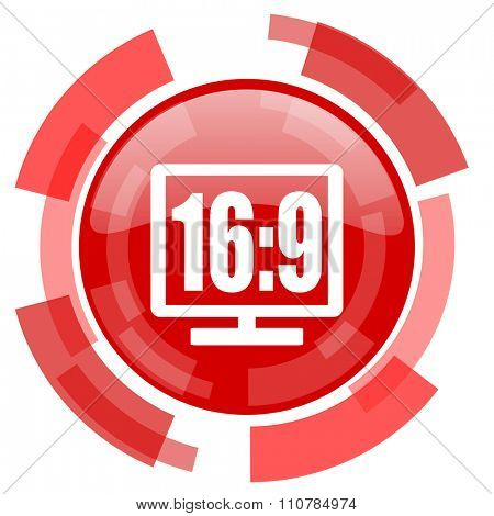 16 9 display red glossy web icon