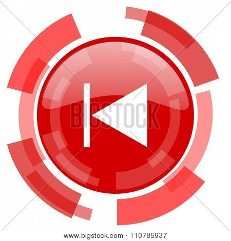prev red glossy web icon