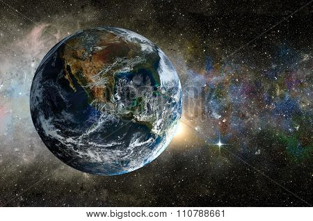 Planet In The Background Galaxies And Luminous Stars. Elements Of This Image Furnished By Nasa