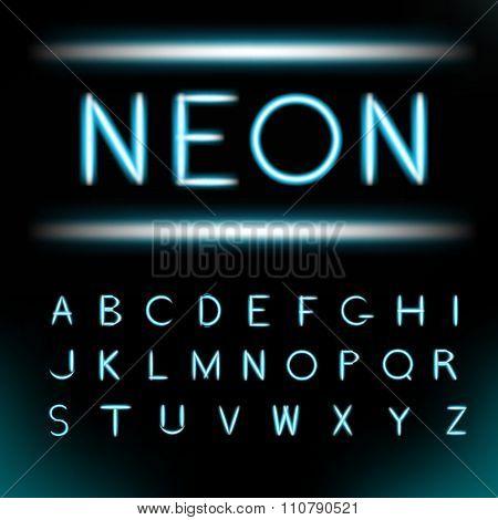 Neon light alphabet font