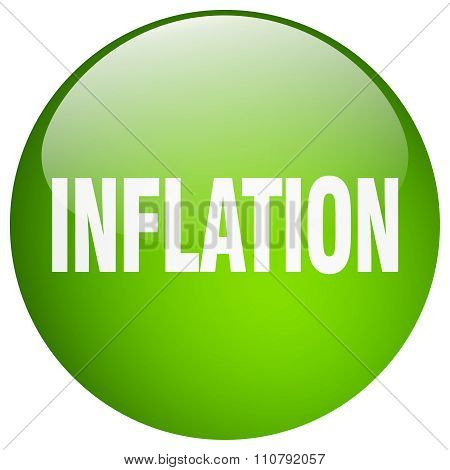 Inflation Green Round Gel Isolated Push Button