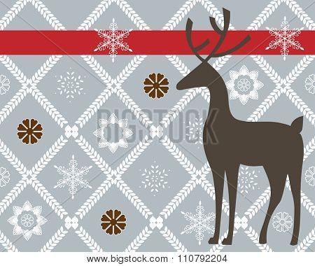 reindeer with wallpaper design snowflakes