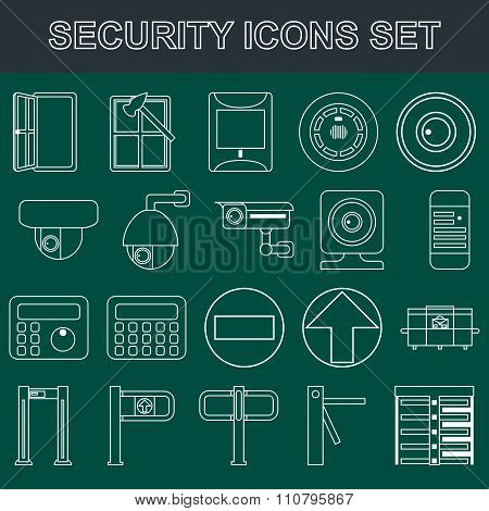 Video Surveillance Metal And Alarm Detectors Turnstiles. Security Icons Set Flat