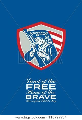 Patriots Day Greeting Card American Patriot  Waving Flag Shield