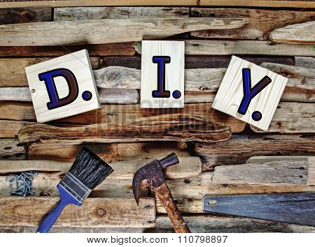 D.I.Y. Do It Yourself, carpentry / wood work design, with tools.