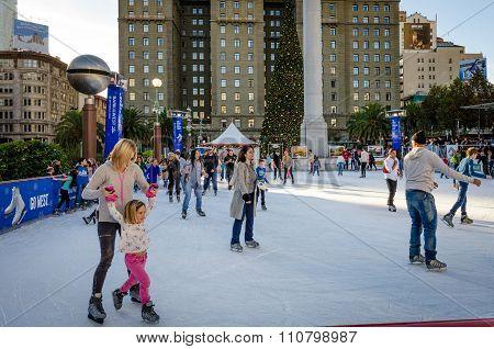 Skating at Union Square in San Francisco
