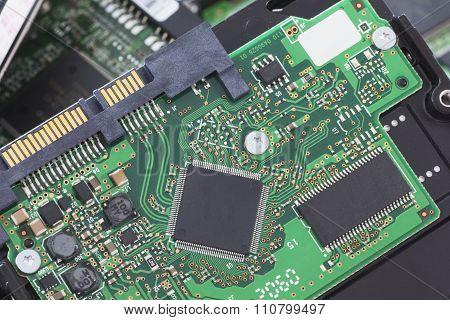 SATA and ATA Hard Disk Connector Close Up Image. poster