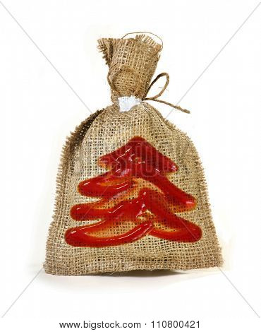 Festive sack with symbol of new year