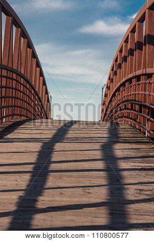pedestrian bridge in the evening