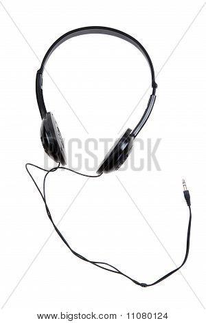 Schwarze Kopfhörer mit Draht- und Jackplug