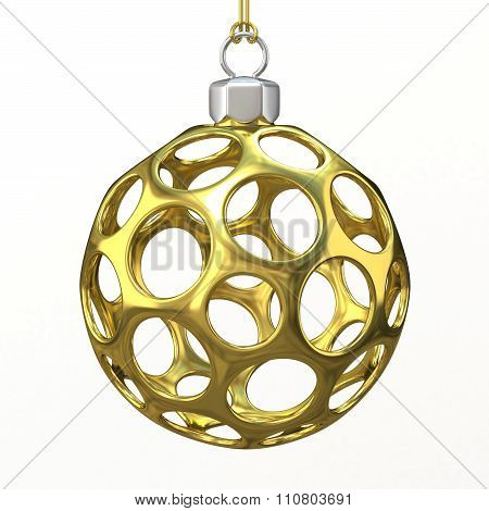 Gold Christmas ball. 3D render