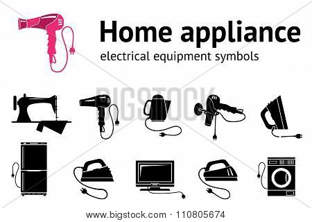Home electrical appliance icon set. Hairdryer iron sewing machine televisor, washing-machine symbols