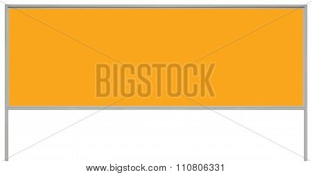 Yellow Metal Ad Sign Board Signage, Isolated Blank Empty Roadside Advertising Billboard Copy Space