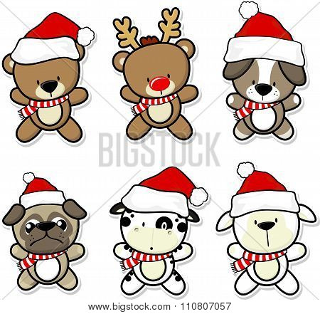 cute baby animals with christmas hat and scarf