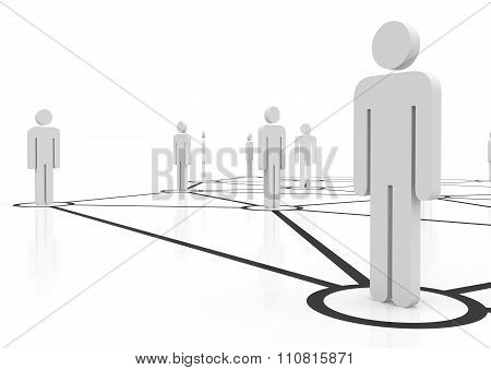 People unified into network. Managing team of people on internet. Staff recruitment