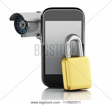 3d render image. Smartphone with CCTV camera and padlock. Mobile security concept. Isolated white background poster