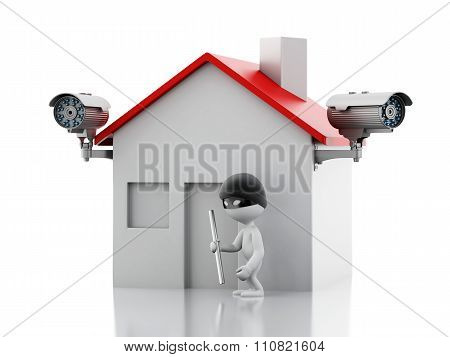 3D House With Security Cctv Camera.