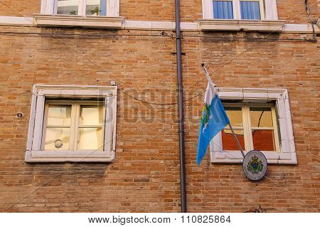 National Flag Over The Entrance To The Consulate Of The Republic Of San Marino In Centre Of Rimini,