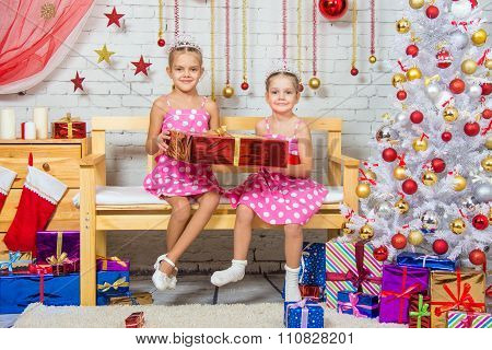 Happy Sisters Holding A Big Red Gift And Sit On A Bench In A Christmas Setting