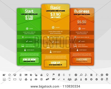 Colorful Pricing List With 3 Options. Different Shapes Of Tables. Icon Set Included