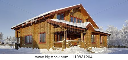 Rural House, Log Cabin Of Stained Wood Yellow Hue.