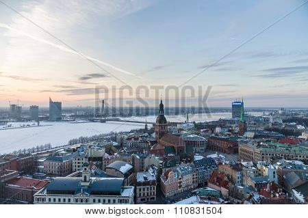 Winter-time Sunset Over Riga And Daugava River, Latvia