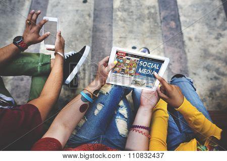 Social Media Social Networking Digital Device Browsing Concept