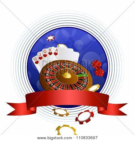 Background abstract blue casino roulette cards chips craps red ribbon circle frame vector
