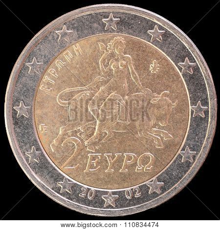 National Side Of Greece Two Euro Coin On Black Background