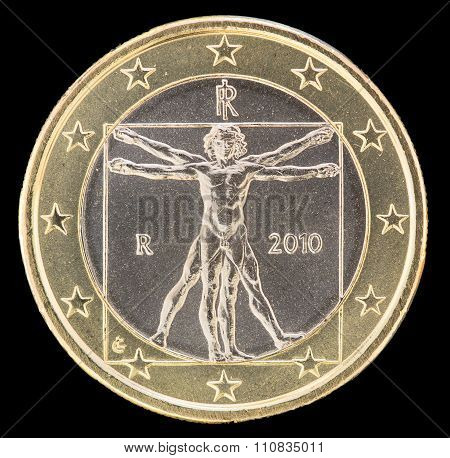 National Side Of Italy One Euro Coin On Black Background