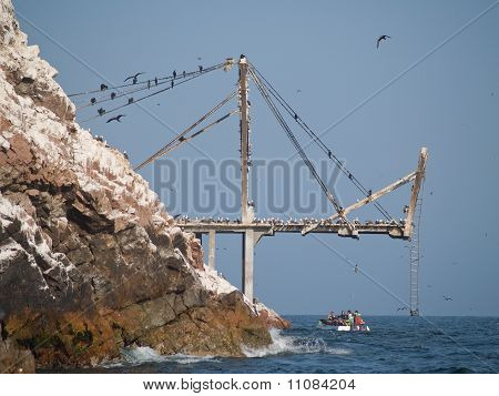 Guano Collection Structures At Islas Ballestas In Peru