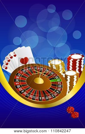 Background abstract blue casino roulette cards chips craps frame vertical gold ribbon illustration