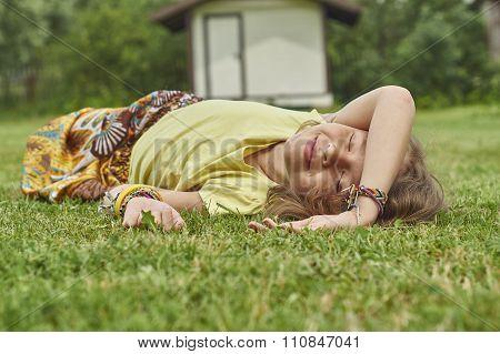 Girl enjoying summer weather