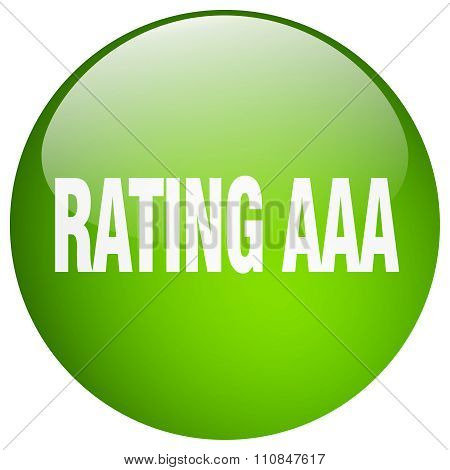 rating aaa green round gel isolated push button poster