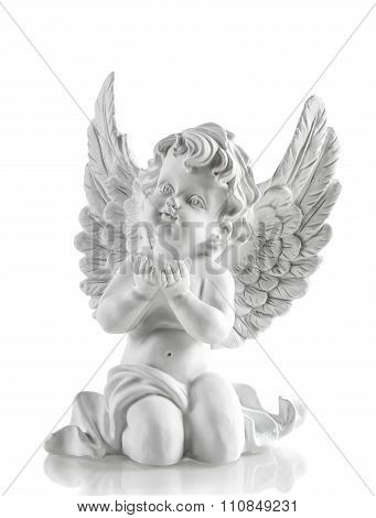 Little White Guardian Angel Over White. Christmas Decoration