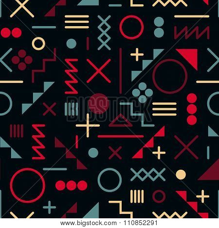 Vector Seamless Retro Jumble Geometric Line Shapes Pink Blue Color Hipster Pattern On Blac